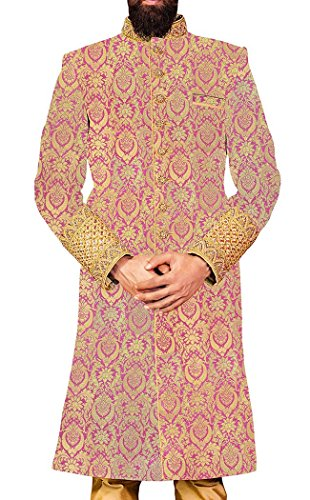 INMONARCH Herren Lavendel 3 Pc Indowestern Neueste IN4404XL52 62 or 6XL (Höhe 190 cm + Oben) Pearl pink Brocade Pearl