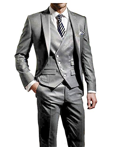 Suit Me Herren 3-Teilig Anzug Slim Fit Hochzeiten Party Smoking Anzuege Sakko,Weste,Hose Grau S (Herren-smoking Weste Mit)