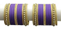 {Extra 20% Discount} Goregous Traditional Style Exclusive Crystal Stud Dark Purple Bangles Partywear Indian Jewellery (2.8)