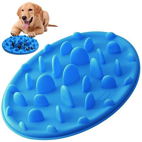 hundeinfo24.de Hundenäpfe Anti Schling, PETBABA Interaktive Langsamen Futterschüssel Silikon Hunde Napf für Hunde Katzen Blau S