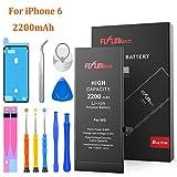 FLYLINKTECH Batteria per iPhone 6 Alta Capacità, 2200mAh Batteria di Ricambio, Batteria Interna Li-ion, Strumenti di Riparazione Professionale Completi con Kit Sostituzione e Adesivi