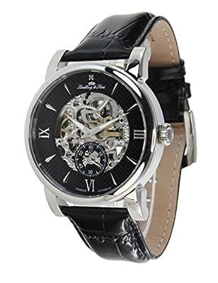 Lindberg & Sons Reloj de pulsera para hombre mecánico automático analógico esqueleto reloj Piel Negro–sk14h047 de Lindberg&Sons