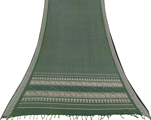 Vintage Indian Green Saree Baumwolle Seide gewebt Craft Fabric Deco verwendet Sari 5 Yd