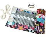 creoogo Neue Design Farbenfrohe Bleistift Wrap Rolle Up Fall Beutel Organizer für Buntstifte, Pretty Women, 72 loops