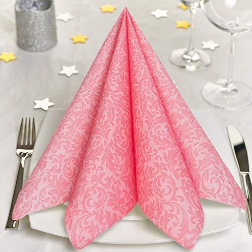 GRUBly Servietten ROSA, PINK | Stoffähnlich [100 Stück] | Hochwertige rosa Servietten, Tischdekoration für Hochzeit, Geburtstag, Feiern, Taufe, Kommunion | 40x40cm | AIRLAID QUALITÄT