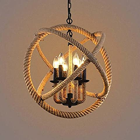 BAYCHEER 6 Light Rustic Rope Globe Ceiling Lamp Chandelier Pendant