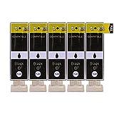 5 Druckerpatronen kompatibel zu PGI-520BK Text Schwarz für Canon Pixma IP3600 IP4600 IP4700 MP540 MP550 MP560 MP620 MP630 MP640 MP980 MP990 MX860 MX870
