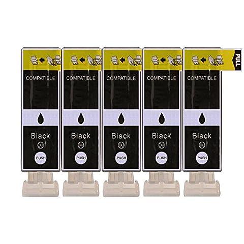 5 Druckerpatronen kompatibel zu PGI-525BK Text Schwarz für Canon Pixma IP4850 IP4950 IX6550 MG5150 MG5250 MG5300 MG5350 MG6150 MG6250 MG8150 MG8250 MX715 MX885