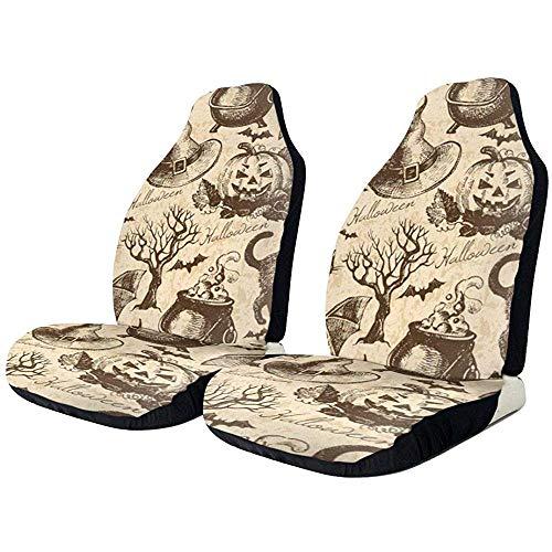 Car Seat Covers Coprisedili Auto Vintage per Gatti Neri di Halloween - Coprisedili per Tappetini per Auto - Protezione Universale per La Maggior Parte dei Coprisedili per Auto/Veicoli/Camio