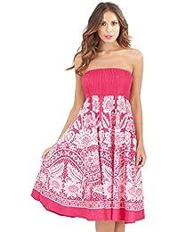 Pistachio Womens Floral Print 2 In 1 Cotton Bandeau Dress Or Skirt e3df5d2b1