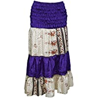 Mogul Interior Women's 2 in 1 Strapless Dress Skirt Purple Sari Colorful Tiered Dresses S/M