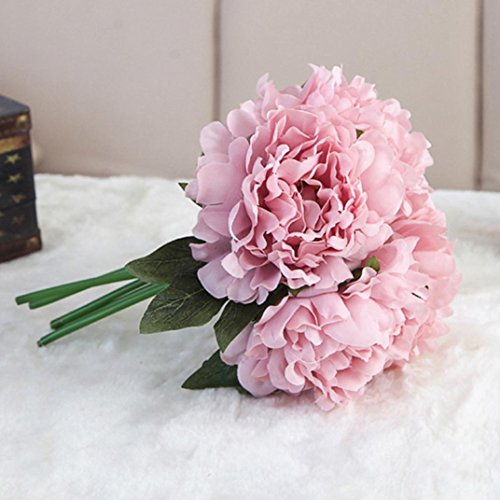 Xshuai Künstliche Seide Gefälschte Blumen Pfingstrose Blumen Hochzeitsstrauß Braut Hortensien Dekor Hausgarten Party Blume Dekoration stieg (Lila)