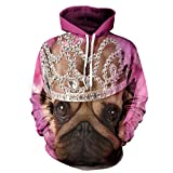 Frauen/Männer Sweatshirt Jumper 3D Printed Crown Shar Pei Mit Kapuze Hoodies Beiläufige Paar-Lose Mantel-Jogger-Jacke,Aspicture,L/XL