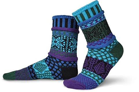 Solmate Socks - Odd or Mismatched Crew Socks for Women or for Men, Made with Recycled Cotton Yarns in USA, Blue Spruce Small