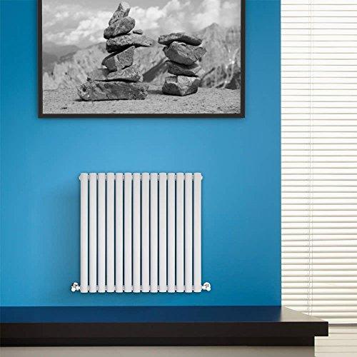 BestBathrooms Design-Heizkörper Horizontal Weiß - 600 x 834 mm - Premium Paneelheizkörper für Zentralheizung - Doppellagig - Perfekt für Küche, Bad & Wohnzi mmer