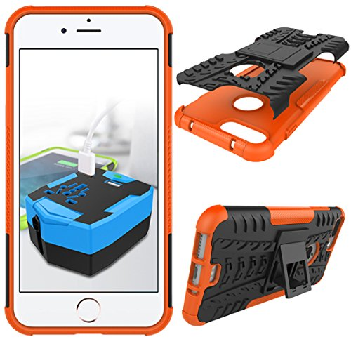 """iPhone 7 Plus Armor Case , VMAE Dual Layer Antiskid Tread Hybrid Rugged Heavy Duty Hard Back Cover Anti Slip With Built-In Kickstand Shock Proof Case for iPhone 7 Plus 5.5"""" (Blue) Orange"""