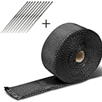 Funnyrunstore 10 M Fibra de Vidrio de Cinta de Calor de Alta Temperatura Escudo de Calor Wrap Roll Car Styling Tool Exhaust Header Pipe Heat Wrap Tape