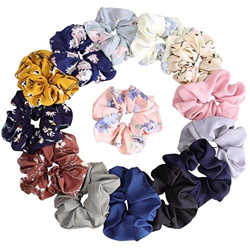 Damen-Haargummis, Chiffon-Blume, mit Schleife, Chiffon, Pferdeschwanz-Halter, in 8 Farben, Chiffon-Blumen, 14 Stück (Stoff-haargummi)