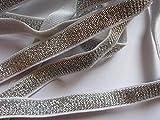 Yycraft 3/20,3cm de large souple Or et Argent Paillettes élastiques par 9,1m, Argent pour cheveux cravates Bandeaux