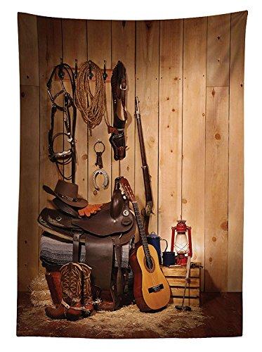 (Yeuss Western Decor Tischdecke American Texas Style Country Musik Gitarre Cowboy Stiefel USA Folk Kultur, Esszimmer K¨¹Che Tisch, rechteckig, Creme Braun 52
