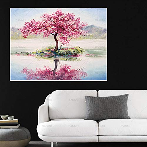 Abstrakte Kunst Baum Malerei Leinwand Bild große Wand im Wohnzimmer Dekoration Bunte Landschaft (kein Rahmen) A5 20x30CM