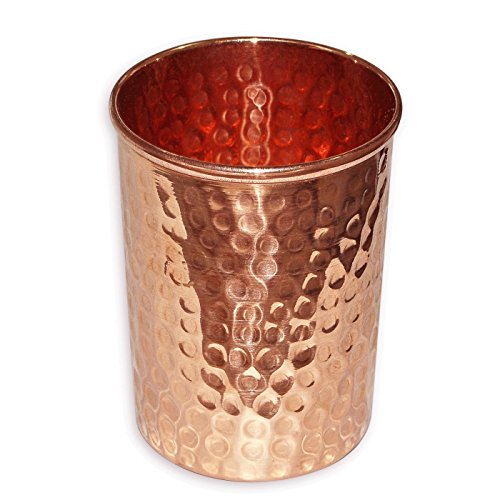 Khandekar (with device of K) Cadeau spécial de Jour de la Saint-Valentin, Main Pur Type cuivre martelé Coupe en Verre pour l'eau