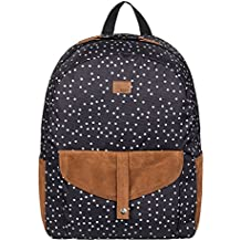 Roxy Carribean Mochila Mediana, Mujer, Gris/Negro (True Black Dots for Days