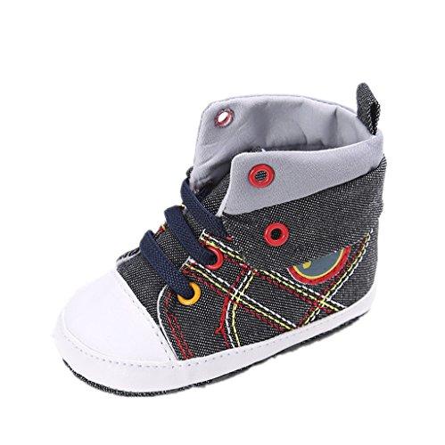 Auxma Baby Jungen Mädchen Sport Leinwand Schuh Sneaker Anti-Rutsch Soft Sole Kleinkind Schuhe (13cm(12-18M), Schwarz) (Stiefel Knit Lammfell)