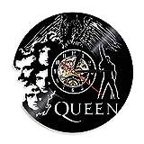 MUZIDP Queen-Band Wanduhr,Retro-Nostalgie Runde Vinyl-Schallplatte Römische Zahlen Wanduhr Für Home Geschenk Dekorative wanduhr-A 12inch