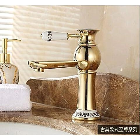 YJJ Cobre grifo de lavabo gabinete Rubio baño caliente y frío