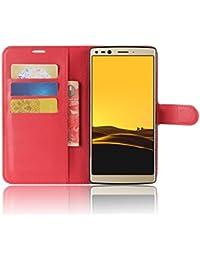 SMTR Doogee MIX 2 Cartera Fundas de PU Cuero Flip, Standing Leather Wallet Case Cover Carcasa Funda con Ranura de Tarjeta Cierre Magnético y función de soporte para Doogee MIX 2, rojo