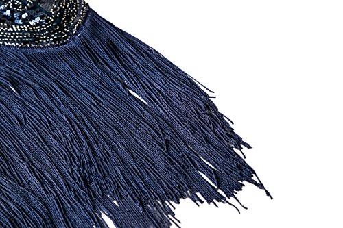 Metme der 1920er Jahre Vintage inspirierte Fransen verziert Gatsby Flapper Midi Kleid Abschlussball Partei Dunkelblau