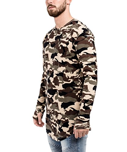 Phoenix Oversize Round Longsleeve T-Shirt Herren Langarm Longshirt Abgerundet Camouflage Woodland