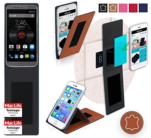 reboon Hülle für Elephone P8000 Tasche Cover Case Bumper | Braun Leder | Testsieger