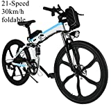 Qulista Erwachsene 26 Zoll Elektrofahrrad E-Faltrad 30km/h, 21-Gang Mountainbike Aluminium Hinterradbremse mit Fahrradlicht Lithium Akku (Weiß)