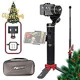 Feiyu G6 3-Axis Spritzwassergeschütztes Action Kamera Hand Gimbal für GoPro Hero 6/5/4/3 Session, Sony RX0, Yi 4K, WiFi Bluetooth Verbindungsmodus, OLED-Anzeige, Mit Verlängerungsstange, Seitenklemme