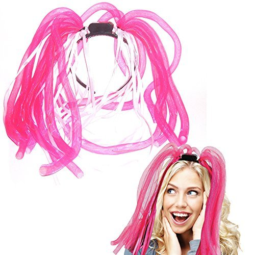 Toy Cubby Light-up LED Party Rave Disco Glowing Flashing Noodle Hair Light Dreads - Pink by Toy Cubby