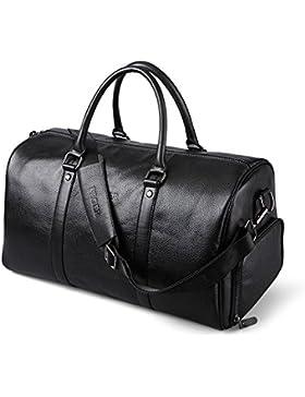 Unisex Leder Handgepäck Reisetasche Weekender groß Sporttasche für Reise Ledertasche am Wochenend Urlaub Arbeitstasche