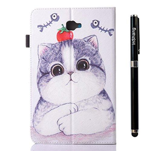 inShang T580/T585 Cover für Samsung Galaxy TAB A 10.1 Inch T 580 Hülle mit PU Leder Skins Etui Schutzhülle Ständer Smart Case Cover, Logo hochwertigen Stylus Eingabestift Stift