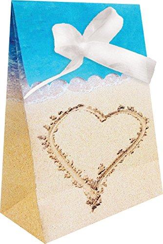 Creative Converting 12Zählen Beach Love Favor Taschen mit Schleife, Blau/Braun