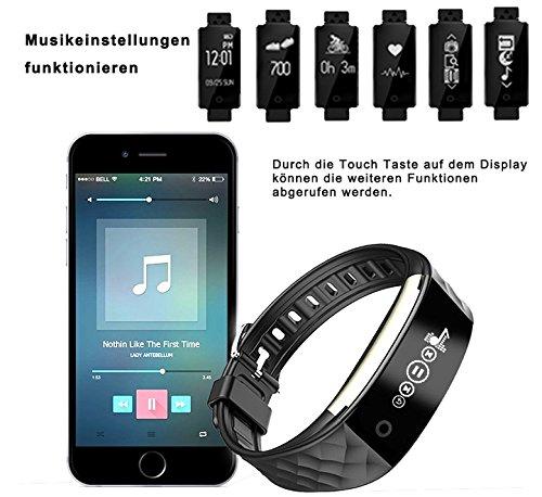 ROGUCI 0.96 Zoll OLED Bluetooth intelligenter Verfolger/Tracker, IP67 Wasserdichtes Tragbares Armband Wristband, Fitness Tätigkeits-intelligente Spurhaltung Armbinde mit Puls-Monitor, mehrfacher Bewegungs-Modus Fahrrad-Reiten , kompatibel mit androiden Smartphones 4.3 IOS iphones 7.0 BT 4.0 - 7