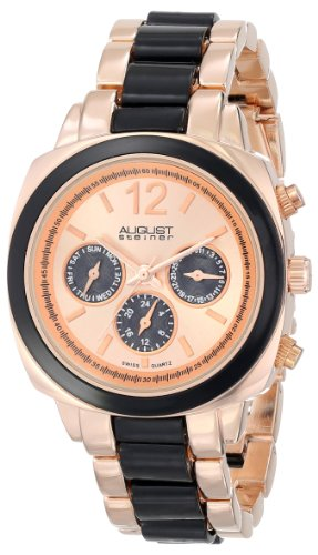 August Steiner Women's AS8062BKR Resin Swiss Quartz Multi-Function Bracelet Watch