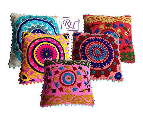 Rastogi Handicraft Cotton Cushion Cover SET OF 5 CUSHION COVER Diwali Christmas Gift Size - 16x16 Inch ...
