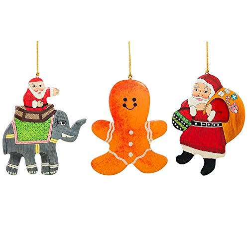 BestPysanky Set of 3 Santa Claus, Gingerbread and Elephant Wooden Christmas Ornaments 5 Inches -