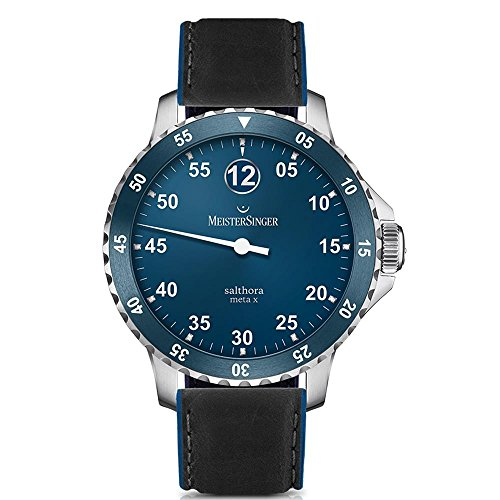 Meistersinger Men's Salthora Meta X 43mm Leather Band Automatic Watch SAMX908