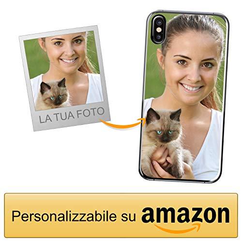 Coverpersonalizzate.it Cover Personalizzata per Apple iPhone Xcon la Tua Foto, Immagine o Scritta - Custodia Morbida in TPU Gel Trasparente - Stampa di altissima qualità