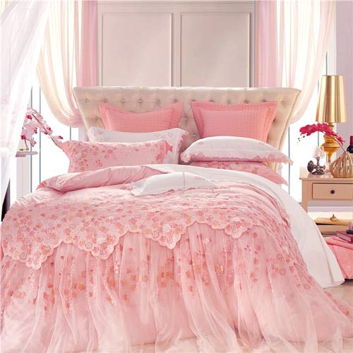 RONGXIE Luxury Silk Egypt Cotton Jacquard Wedding Veil Bedding Set Embroidered Lace Duvet Cover Set Bed Sheet Queen King Size (Sheet Set Bed Queen-size)