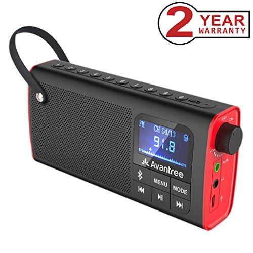 Avantree 3 en 1 Radio FM con Altavoz Bluetooth Portátil y Reproductor de tarjeta SD , Auto-búsqueda y Memorización, Pantalla LED, Batería Recargable - SP850 [Garantía 2 año]