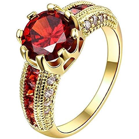 Anelli da donna con cristallo Swarovski tipo rubino, personalizzabili, alla moda, placcati in oro rosa, misura: 14,5-17