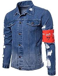 WQ&EnergyMen Mens Buttoned Slim Fitting Patchwork Distressed Jeans Jacket Coat